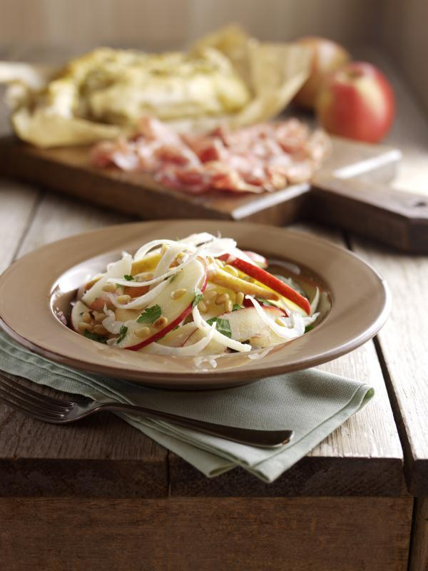 Pink Lady apple and fennel salad with pine nuts, parmesan and shallot dressing