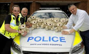 PC Trauma Teddy and friends start work this week with Hertfordshire's Roads Policing Unit, fully trained and ready for deployment to comfort hurt, frightened and upset children.