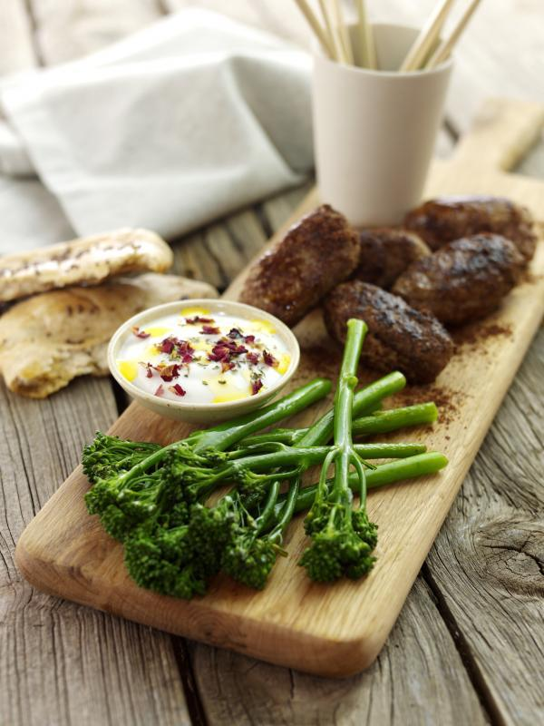Recipe: Lamb koftes with Tenderstem and yoghurt dip