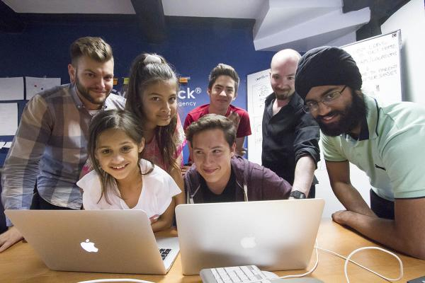 Sisters Asha and Maya Wills, 13 and 10, Daniel Vaughan, 15, Jake Sieradzki, 14, and Harjot Singh, 17, spent four days at CyberDuck before travelling to Plymouth for a national competition.