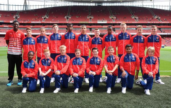 Conor Browne (front row, fourth from the right) has been chosen to be part of the Arsenal ballsquad for the upcoming season.