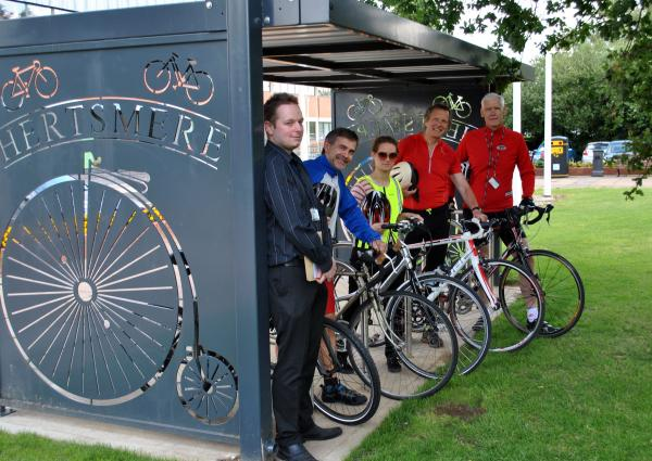 The new bike shelter was specially designed for the council by the Baldock-based Icknield Forge.
