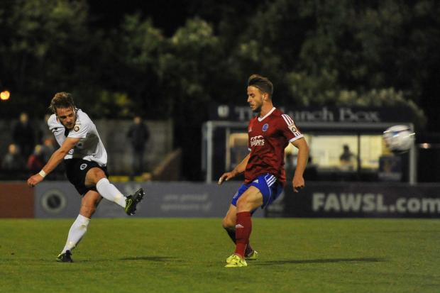 Borehamwood Times: Conor Clifford lets fly for Wood. Picture: Sean Hinks
