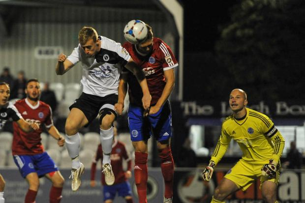 Borehamwood Times: Jamie Lucas squandered a good first-half chance for Wood. Picture: Sean Hinks