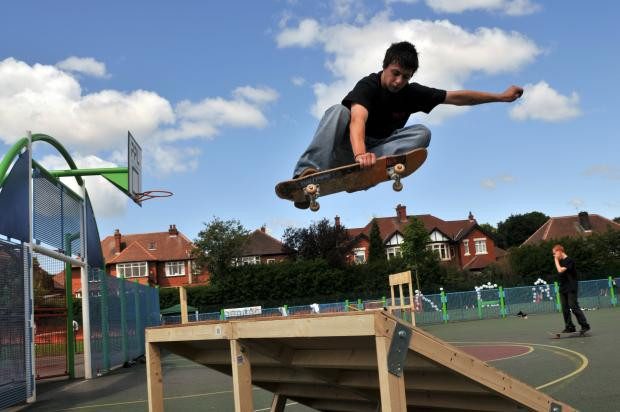 People have the chance to practice their skateboarding