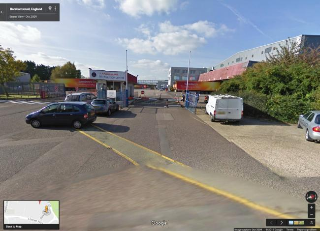 Sainsbury's depot in Borehamwood. Image from Google Maps