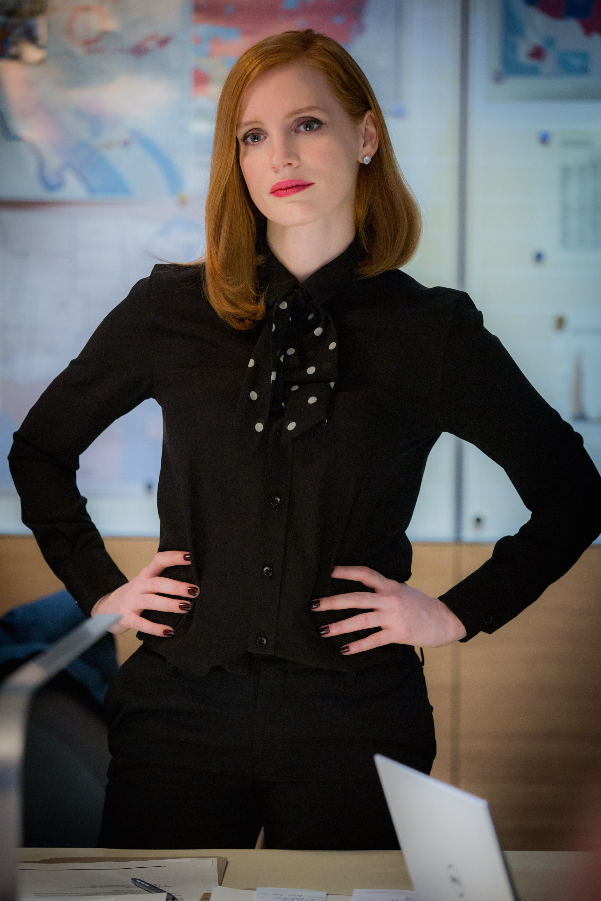 Jessica Chastain stars in Miss Sloane. Photo Credit: Kerry Hayes © 2016 EuropaCorp – France 2 Cinema