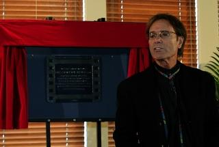 Sir Cliff Richard with his plaque