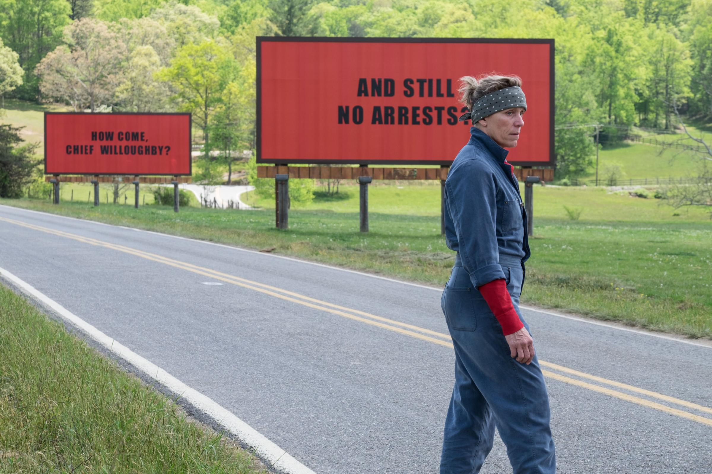 Frances McDormand as Mildred Hayes in Three Billboards Outside Ebbing, Missouri  (PA Photo/Twentieth Century Fox Film Corporation/Merrick Morton)