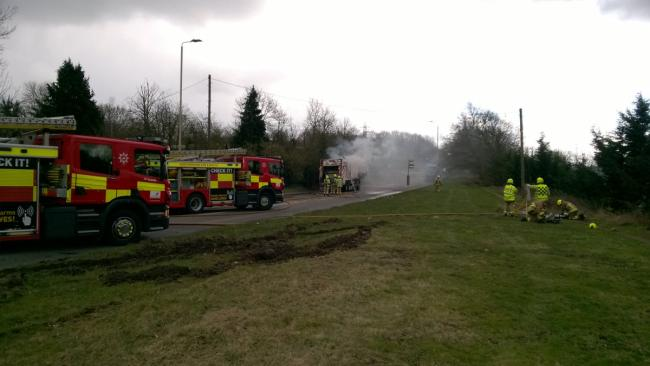 Road shut after lorry fire Picture: BCH Road Policing