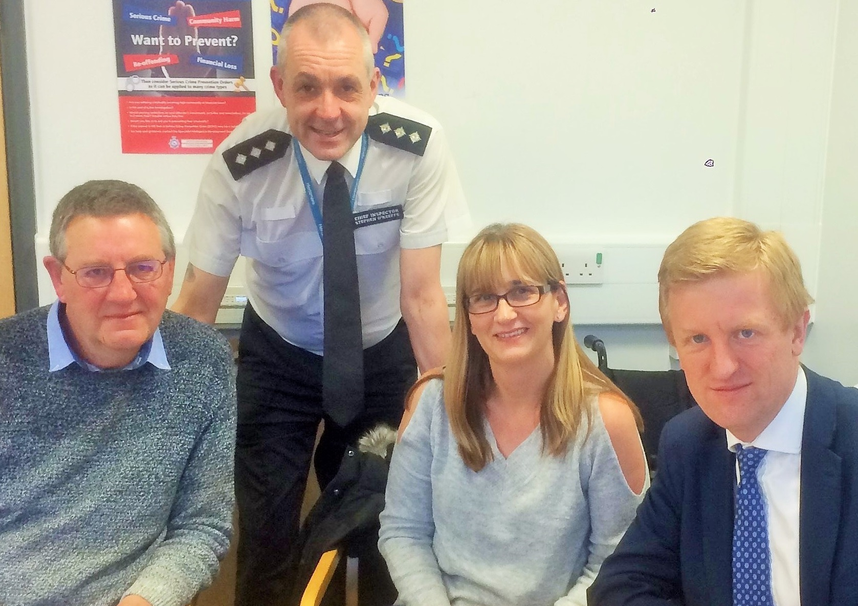 Oliver Dowden (right) with Chief Inspector O'Keeffe and neighbourhood watch members