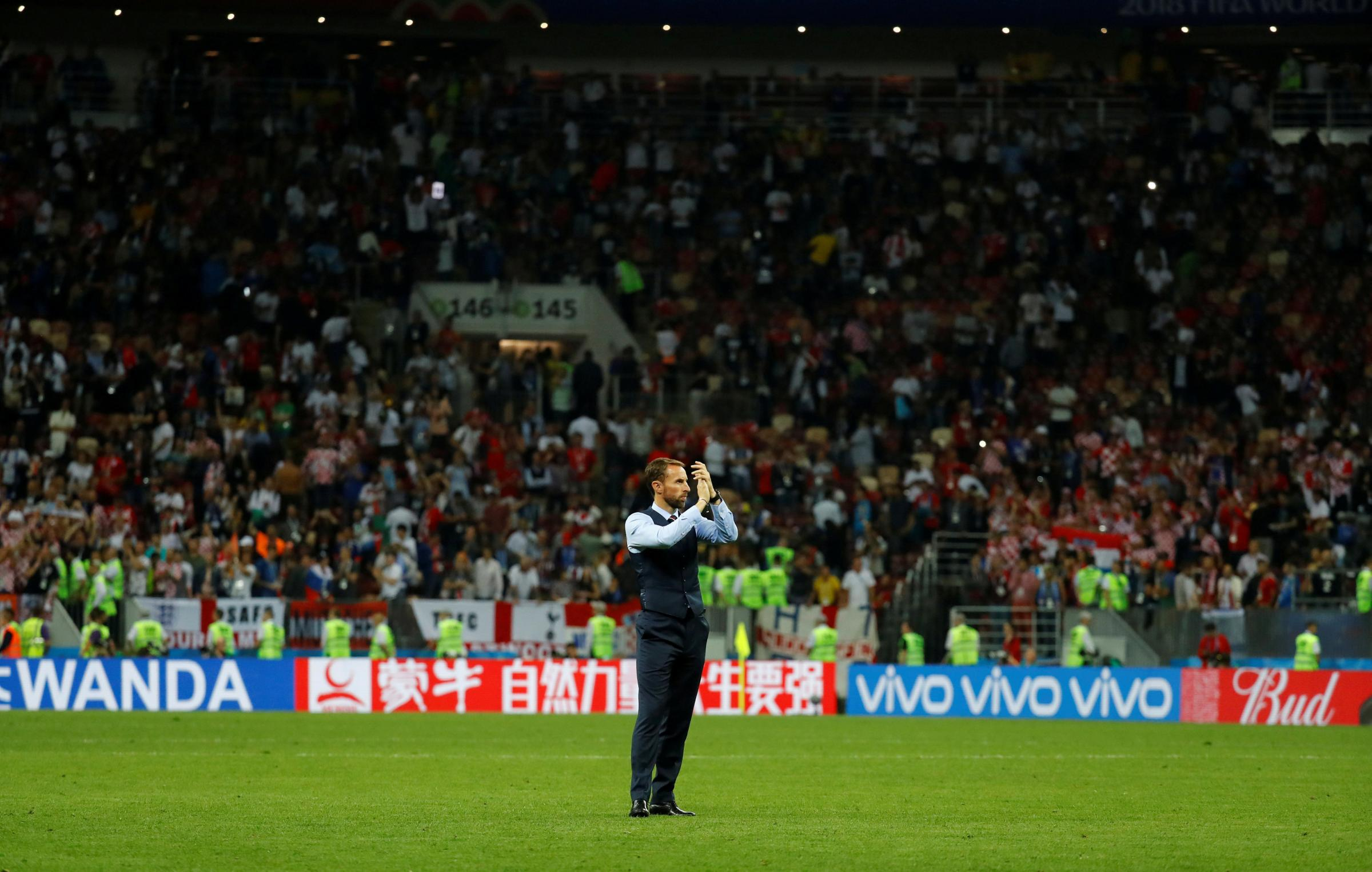 Gareth Southgate applauds fans after the match. Picture: Action Images