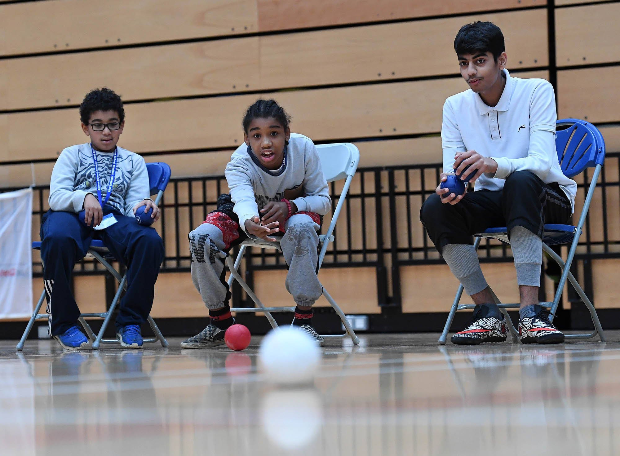 Children participate in a boccia session