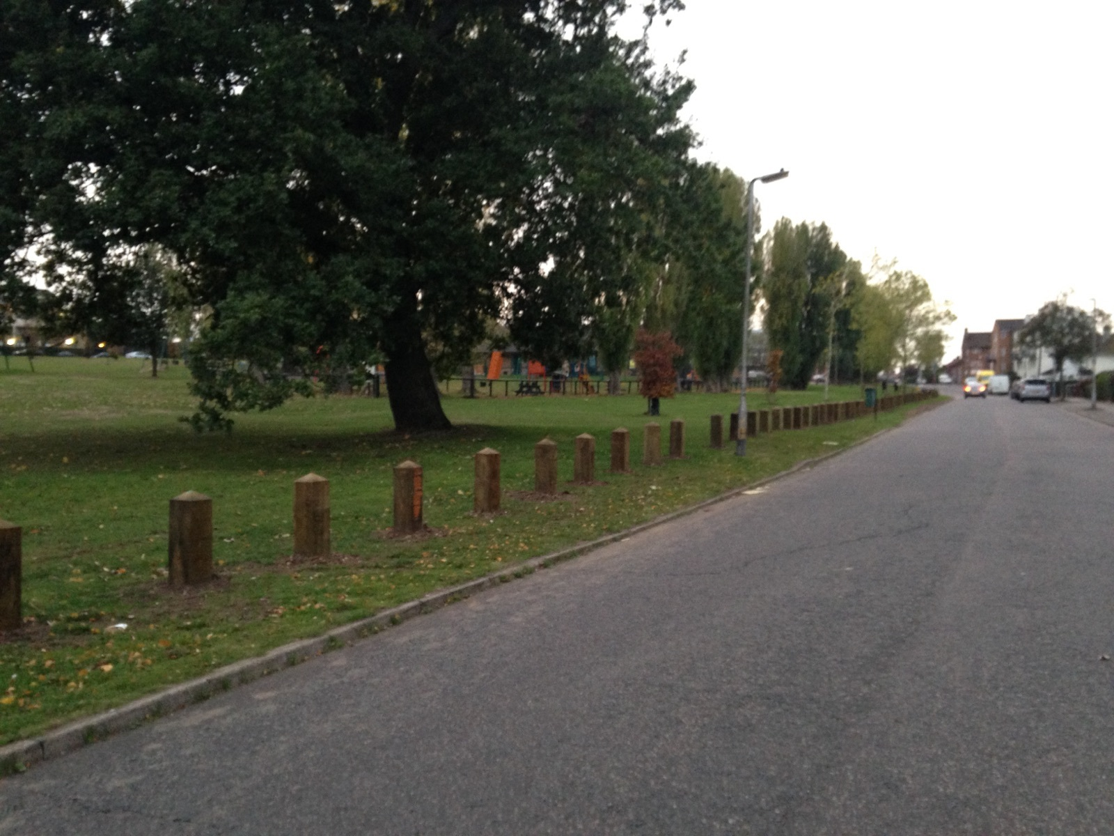 Posts have been installed along Arundel Drive