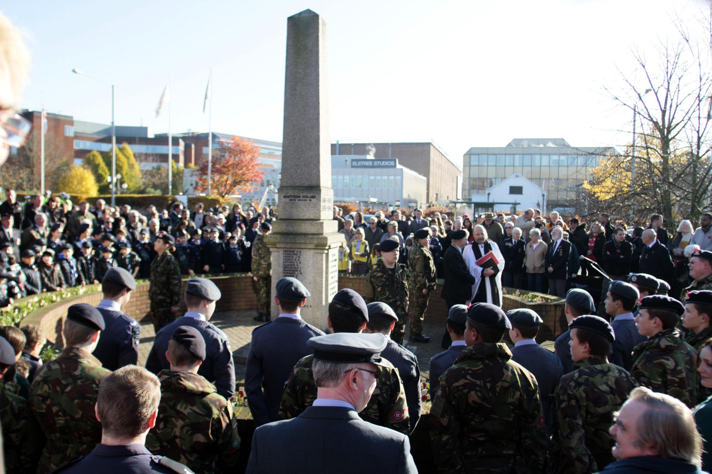 A previous remebrance event at the Borehamwood War Memorial. Picture: Peter Beal