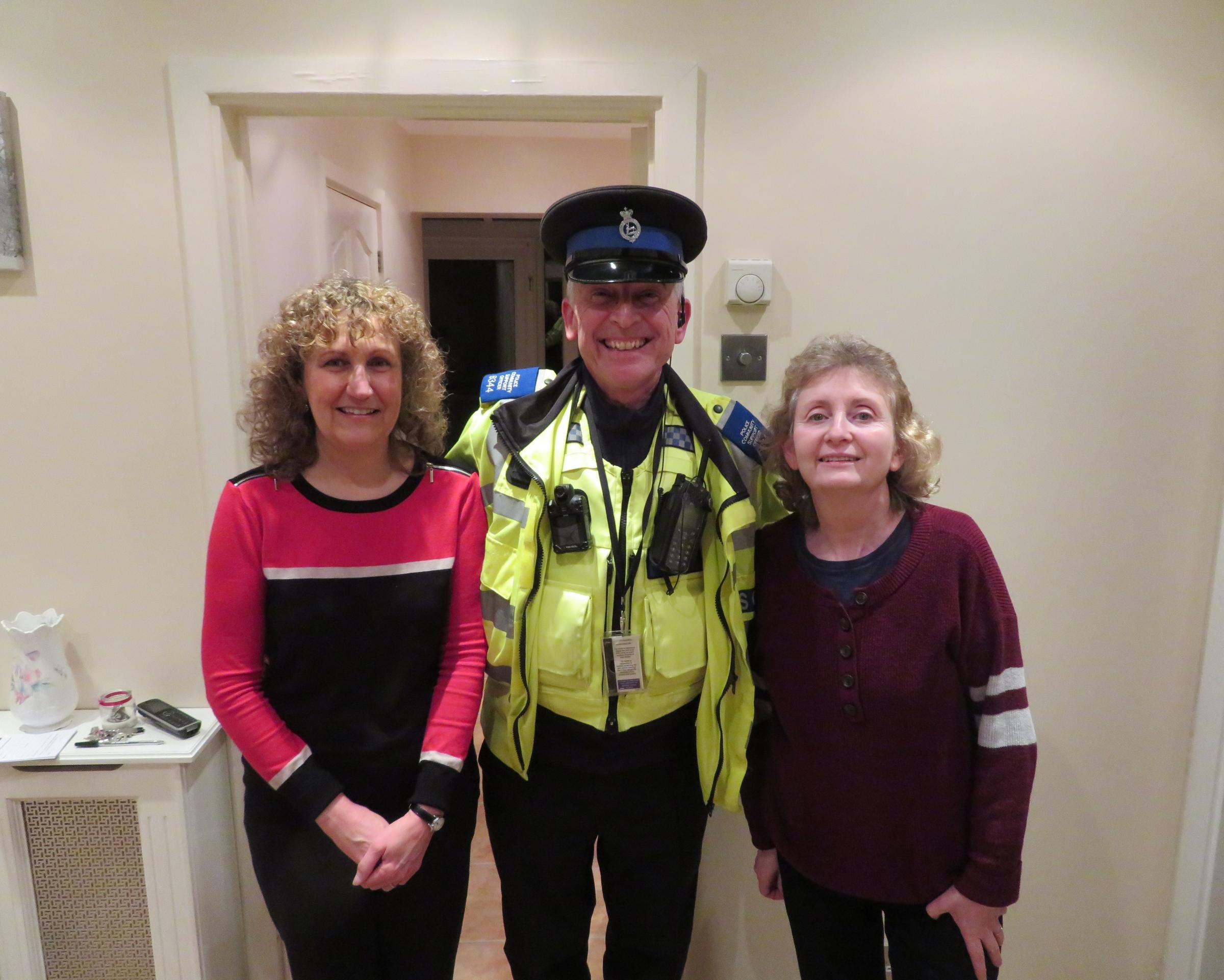 PCSO John Hainsworth pictured with Paula Gilbey (left) and Naomi Samuelson who was OWL's 961st member in Elstree