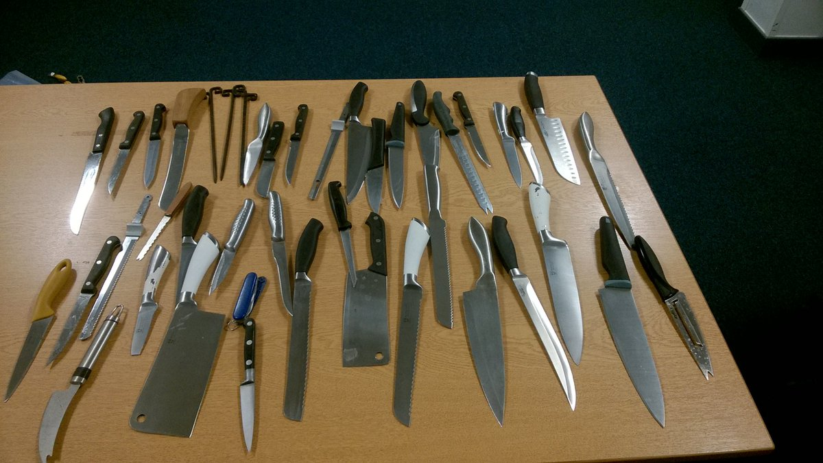 A collection of knives which have been handed in previously to Hertfordshire Constabulary