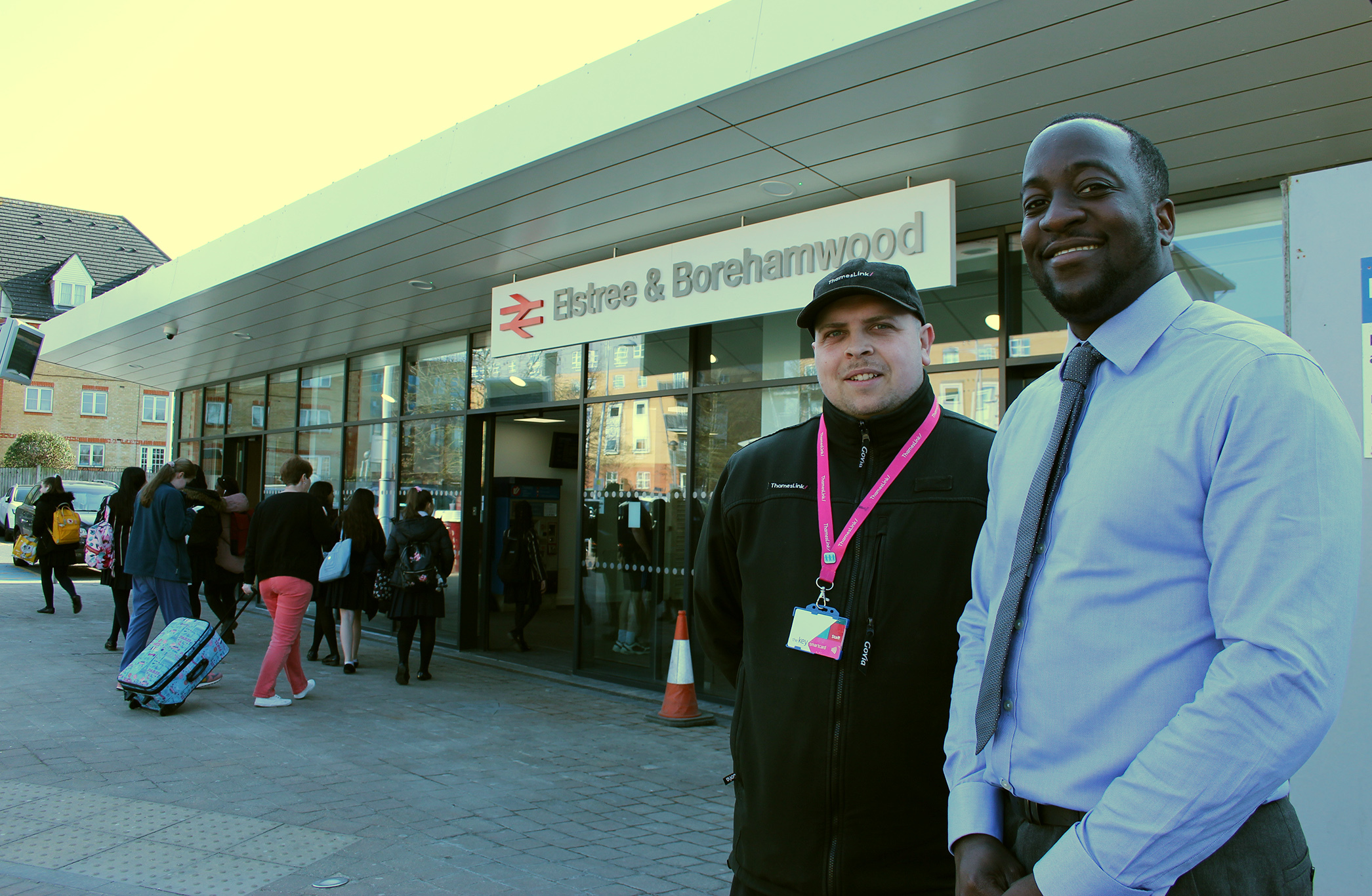 Station manager Marc Asamoah (right) and revenue control officer Mike Tyler outside the newly renovated Elstree & Borehamwood train station