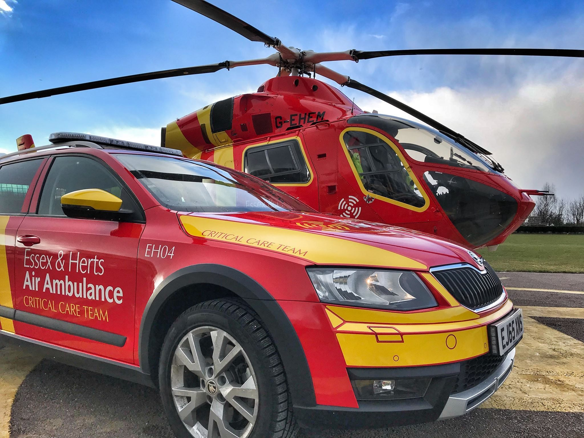 The Essex & Herts Air Ambulance helicopter and RRV
