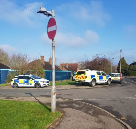 Police near the site in Warenford Way on April 3