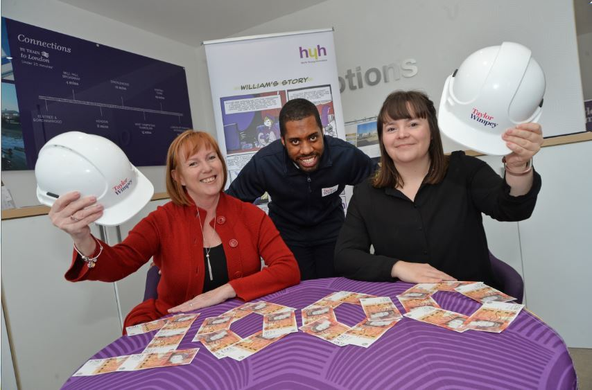 Pictured left to right: Helen Elliott, CEO at Young Hearts Homeless, Courtney Reid, Taylor Wimpey Sales Executive, Victoria Flynn of Young Hearts Homeless