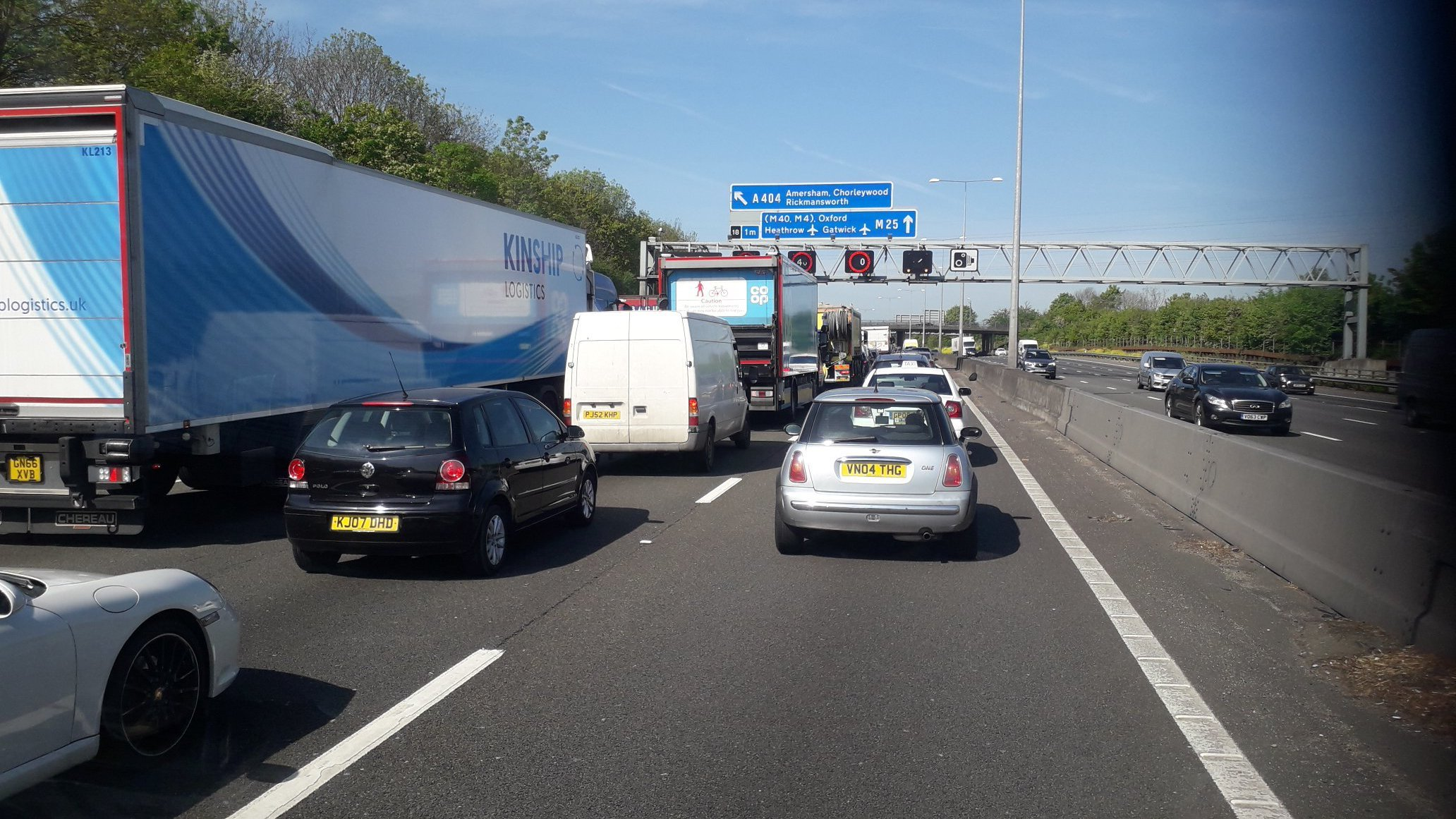 Tailbacks on the M25 today. Photo credit: Schmid Landscapes