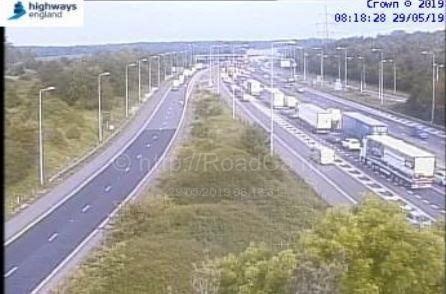Traffic queueing on the M25 at j27 for the M11. Photo: Highways England